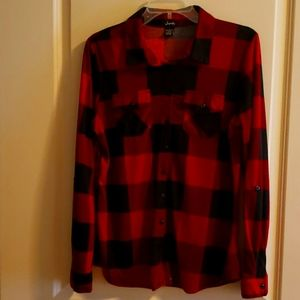 Plaid Long Sleeve Flannel Shirt Red & Black Size L